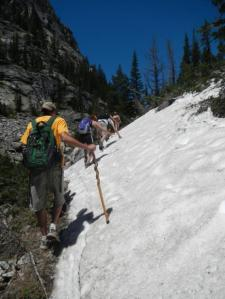 June 8th, and we're hiking through snow. Good thing  Keegan has that awesome walking staff.