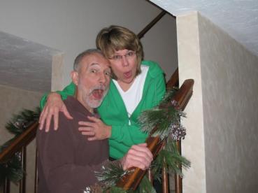 mom and dad christmas morning
