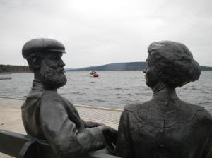 Alexander Graham Bell and Mrs. Bell statue Nova Scotia