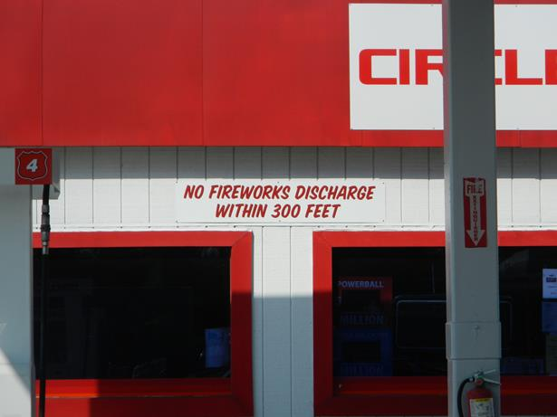 no fireworks at gas station